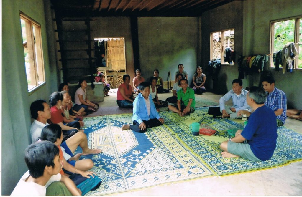 Church of Christ in Ban Na Ang Village, Luang Prabang Province, Laos. Patinya Thitathan conducts a two hour Bible study for members of the church in Ban Na Ang. The first floor, below, is where the church meets to worship.