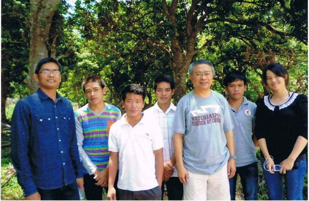 Savan Bible Students, Savannakhet Province, Laos. Some Savan Bible students are shown with part of the Laos mission team. Patinya Thitathan is shown with Chanchai (far left). Other team members who are not shown are, Duangjai (who took this photo), Wason and Sitthisak.