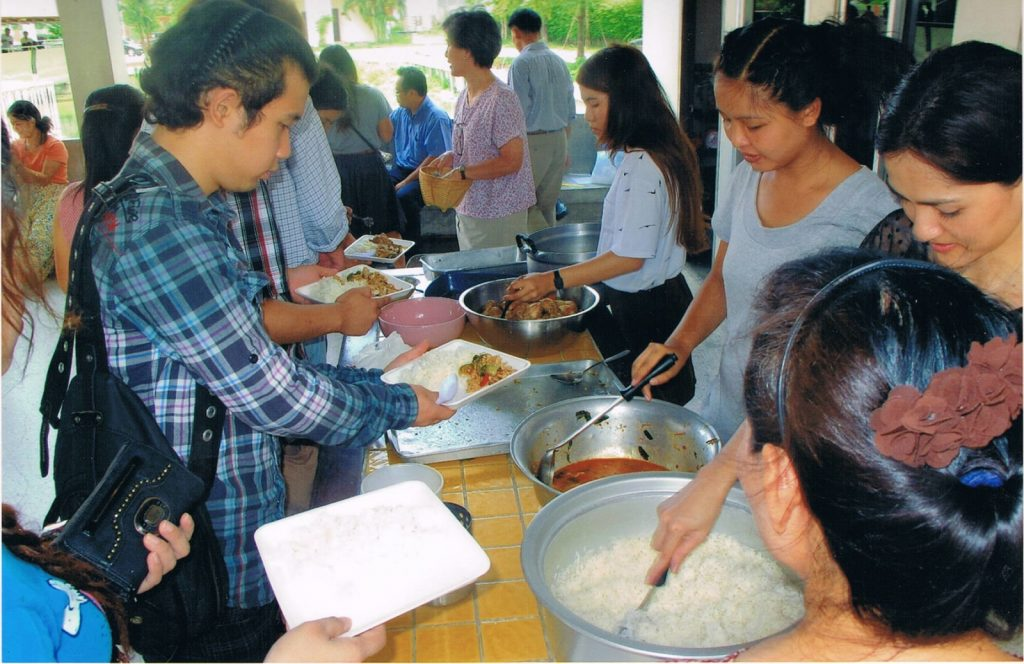 Watcharapon Church of Christ, Bangkok, Thailand. The members at Watcharapon enjoy eating lunch together once a month.