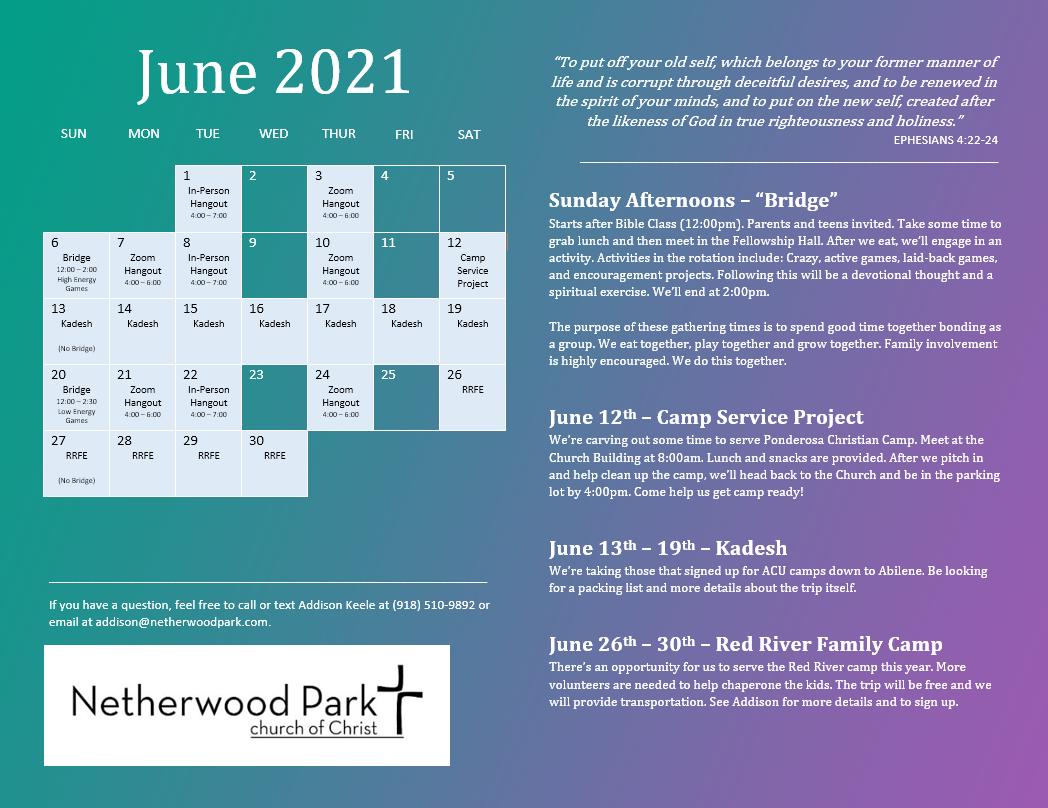Youth Calendar June 2021